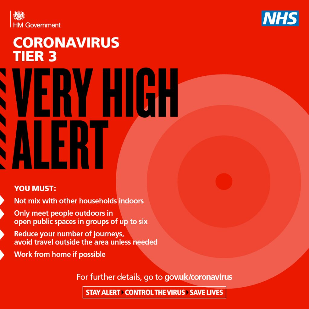NHS Message - Local Covid Alert Level - VERY HIGH ALERT