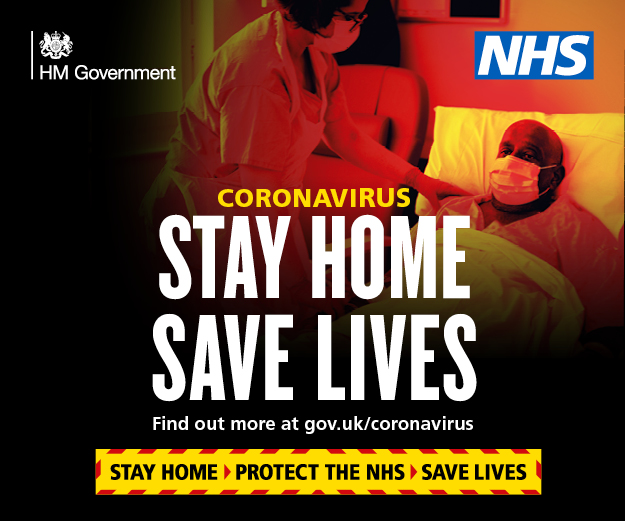 NHS Message - Stay Home - Save Lives - Find out more at gov.uk/coronavirus
